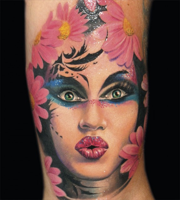 Woman Face And Flower Portrait Tattoo