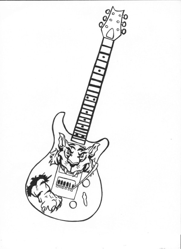 Amazing Guitar Tattoo Design
