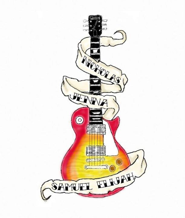 Banner And Guitar Tattoos Design
