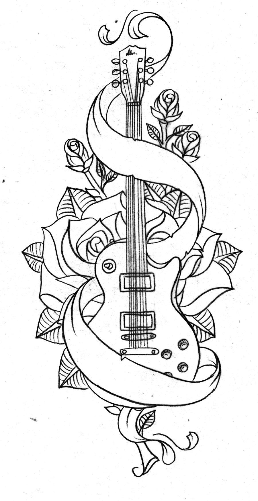 Banner Rose Flower And Guitar Tattoo Design