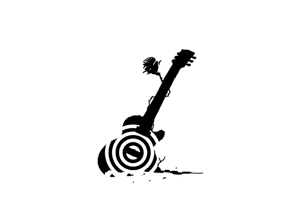 Black Guitar And Flower Tattoo Design