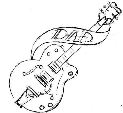 Guitar Tree Drawing Colored Guitar Tree Tattoo on