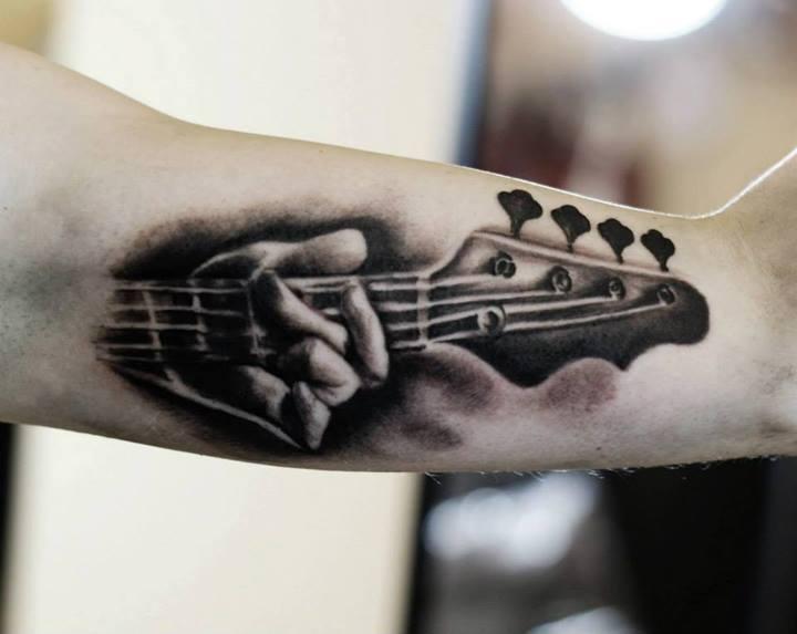 Guitar tattoo images designs for Electric hand tattoo