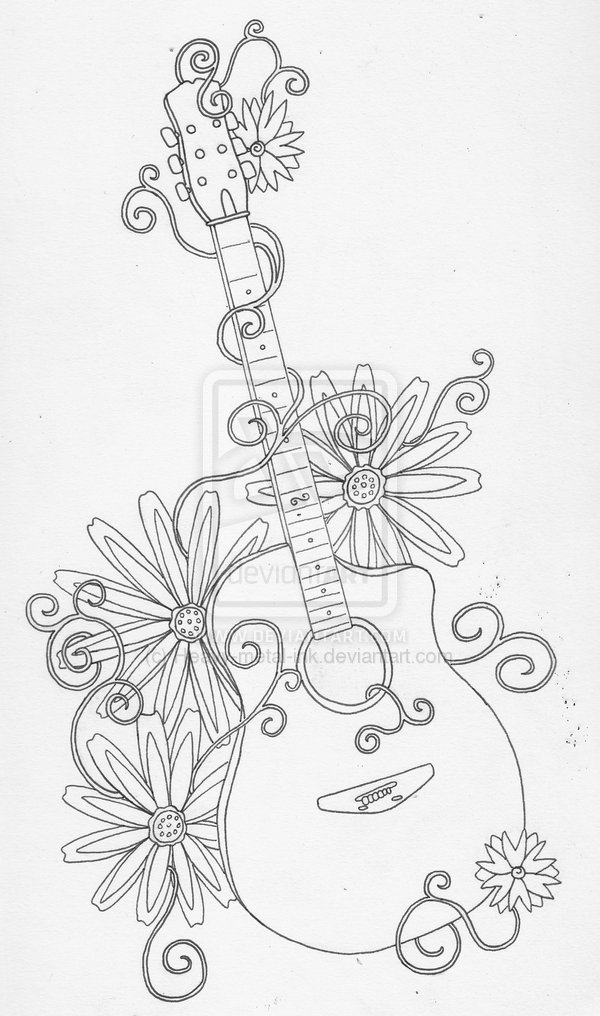 Flaming Guitar Tattoo On Man Left Half SleeveAcoustic Guitar Drawing Tattoo
