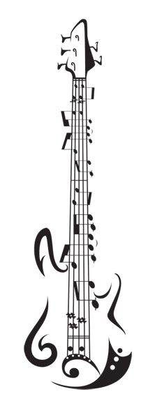 Music Notes and Guitar Tattoo Design