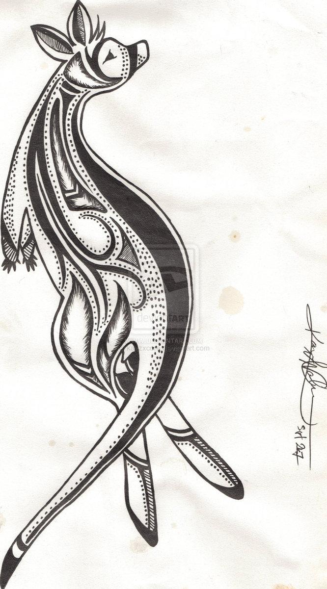 Aboriginal Kangaroo Tattoo Design
