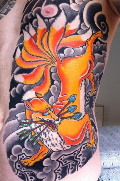 Japanese fox tattoo fox tattoo on right thigh