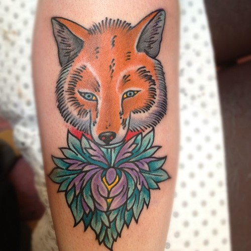 American Traditional Fox Tattoo
