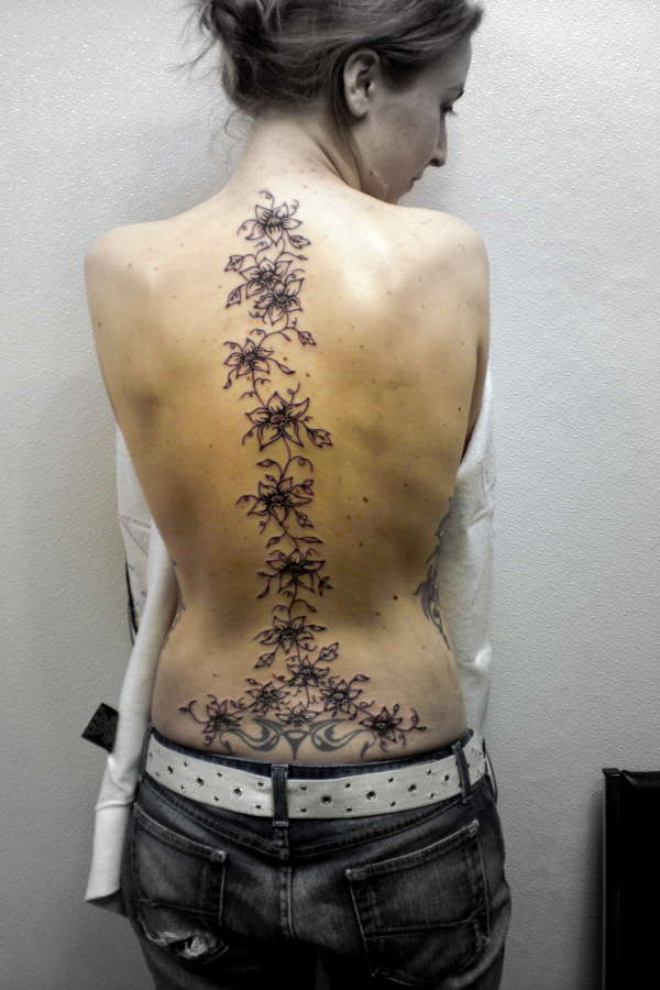 Flowers Spine Tattoo For Girls