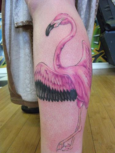 Flying pink flamingo tattoo on leg for Pink flamingo tattoo