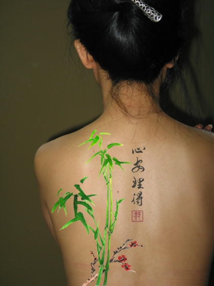 Amazing Chinese Symbols Spine Tattoo For Girls