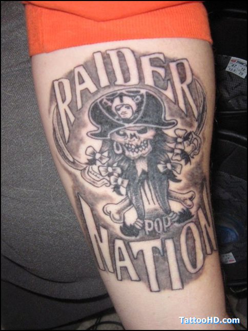 Grey ink raider nation punk tattoo for Raider nation tattoos