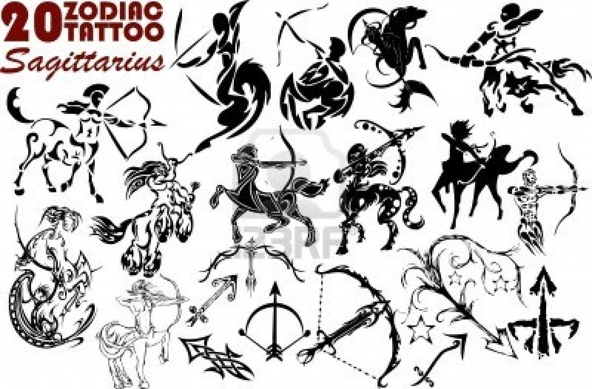 Awesome black ink sagittarius tattoos designs