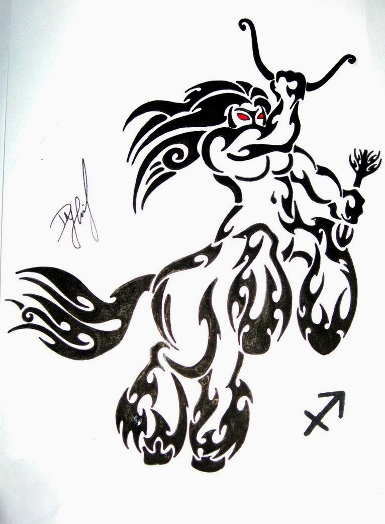 Black Tribal And Sagittarius Tattoos Design