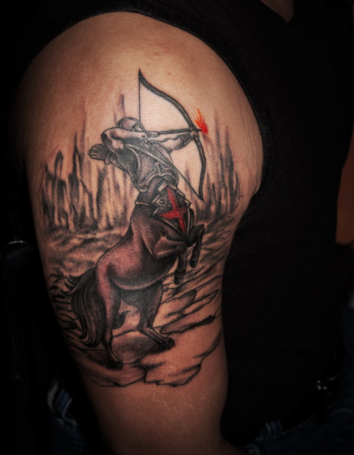 Sagittarius Tattoo On Shoulder