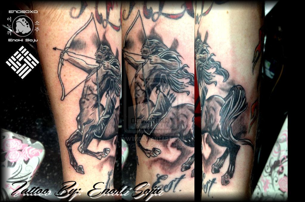 Sagittarius Tattoo On Left Chest