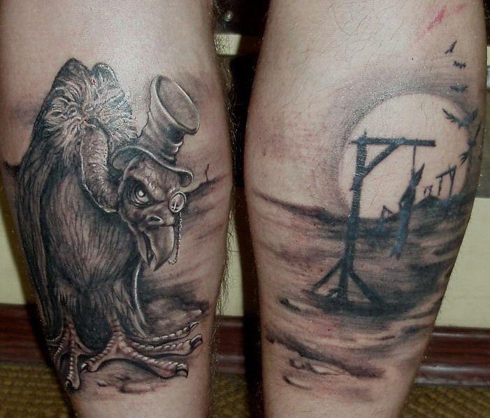 attractive grey ink old vulture tattoo on leg. Black Bedroom Furniture Sets. Home Design Ideas