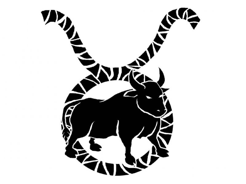 Awesome Black Bull And Taurus Zodiac Sign Tattoo Design