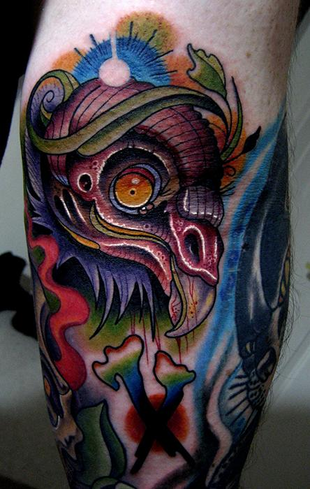 beautiful colored vulture tattoo on leg. Black Bedroom Furniture Sets. Home Design Ideas