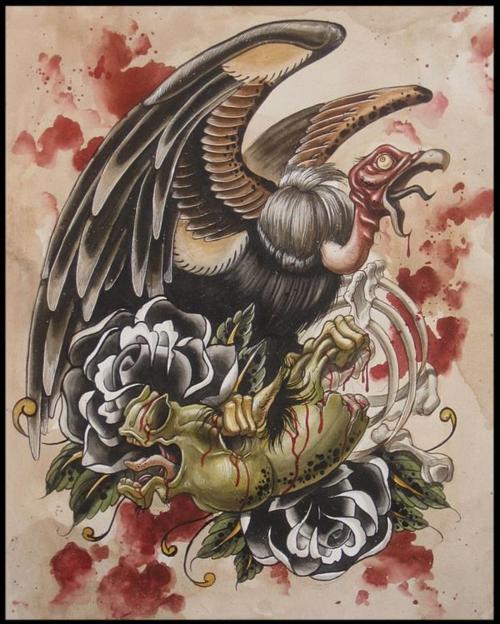 Black Ink Vulture Tattoo On Man Right Shoulder