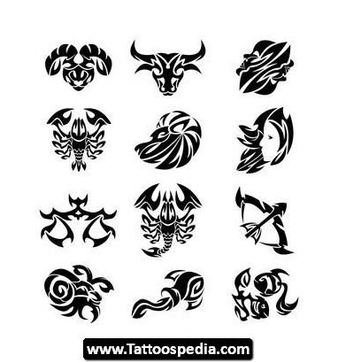 Black Tribal Taurus Tattoos Designs