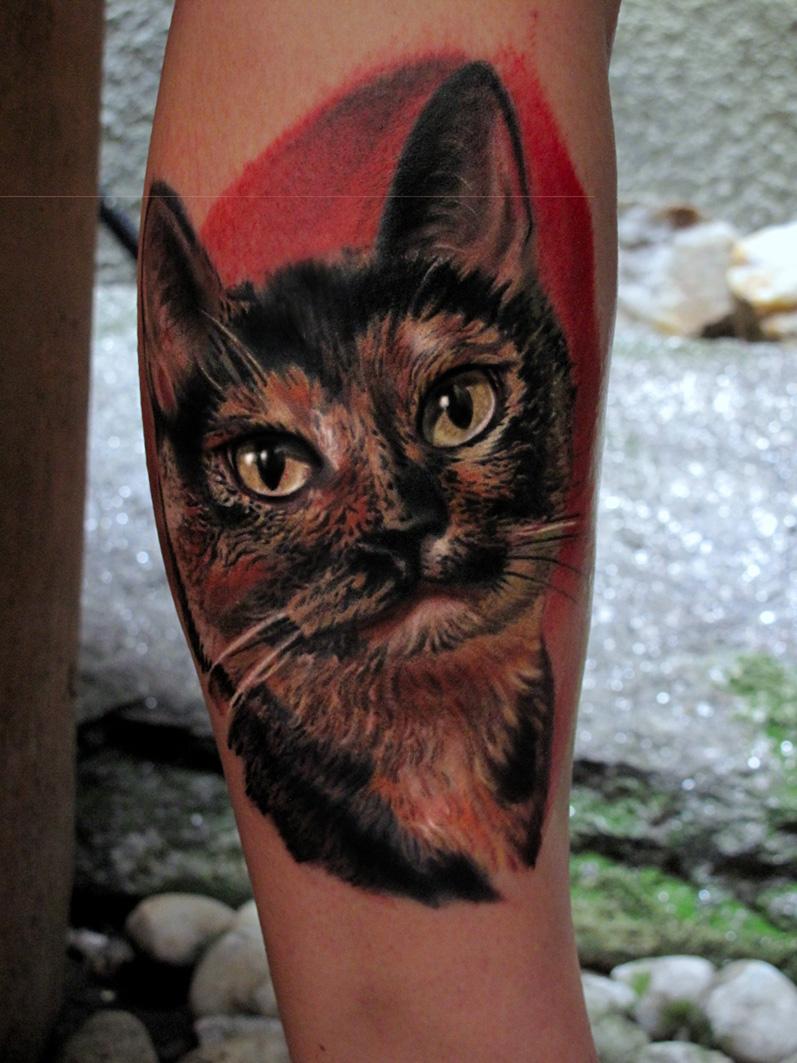 Cat Head Tattoo On Arm