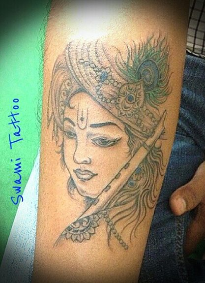 Lord Krishna Portrait Tattoo