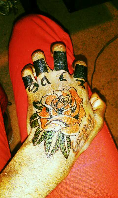 Red Rose Tattoo On Left Hand