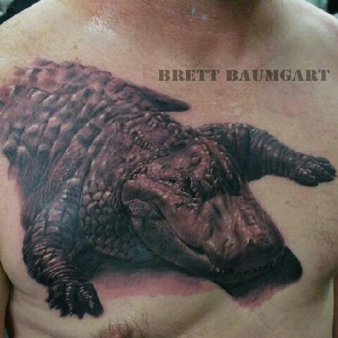 bc972debef63a1 Alligator Tattoo On Man Chest