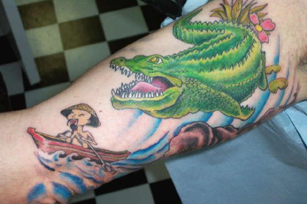 98b347ef984d7d Green Ink Alligator Tattoo On Sleeve For Men