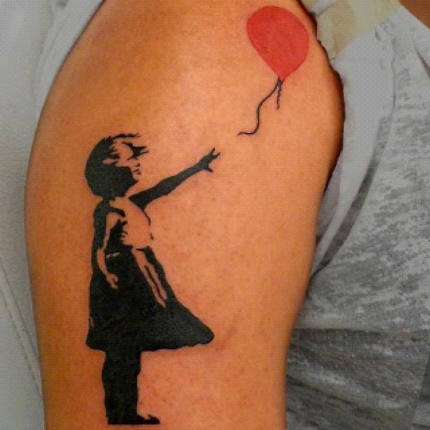 banksy flying balloons girl meaning
