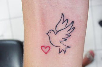 d53fa090d Awful Tiny Red Heart And Dove Tattoo On Wrist