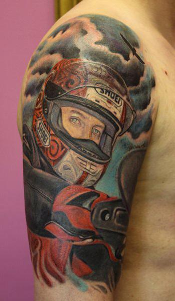 Colored motorcycle biker tattoo on half sleeve for Motorcycle tattoo sleeve