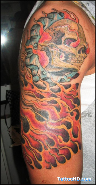 Flaming biker tattoo on right half sleeve for Motorcycle tattoo sleeve