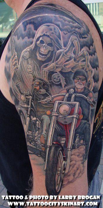 Biker tattoo images designs for Biker chick tattoos