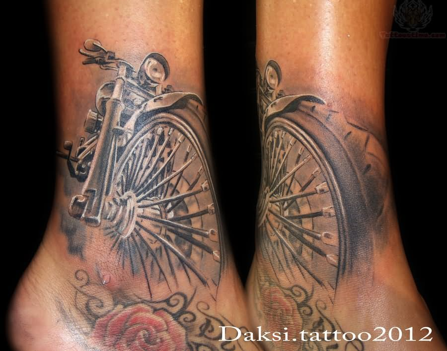 Rose Tattoo Sleeve Outline Red Rose And Biker Tattoo On