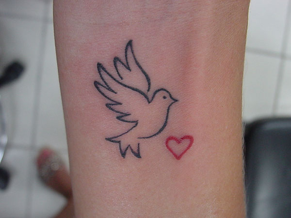 ccd45cff7 Tiny Red Heart and Dove Tattoo On Forearm