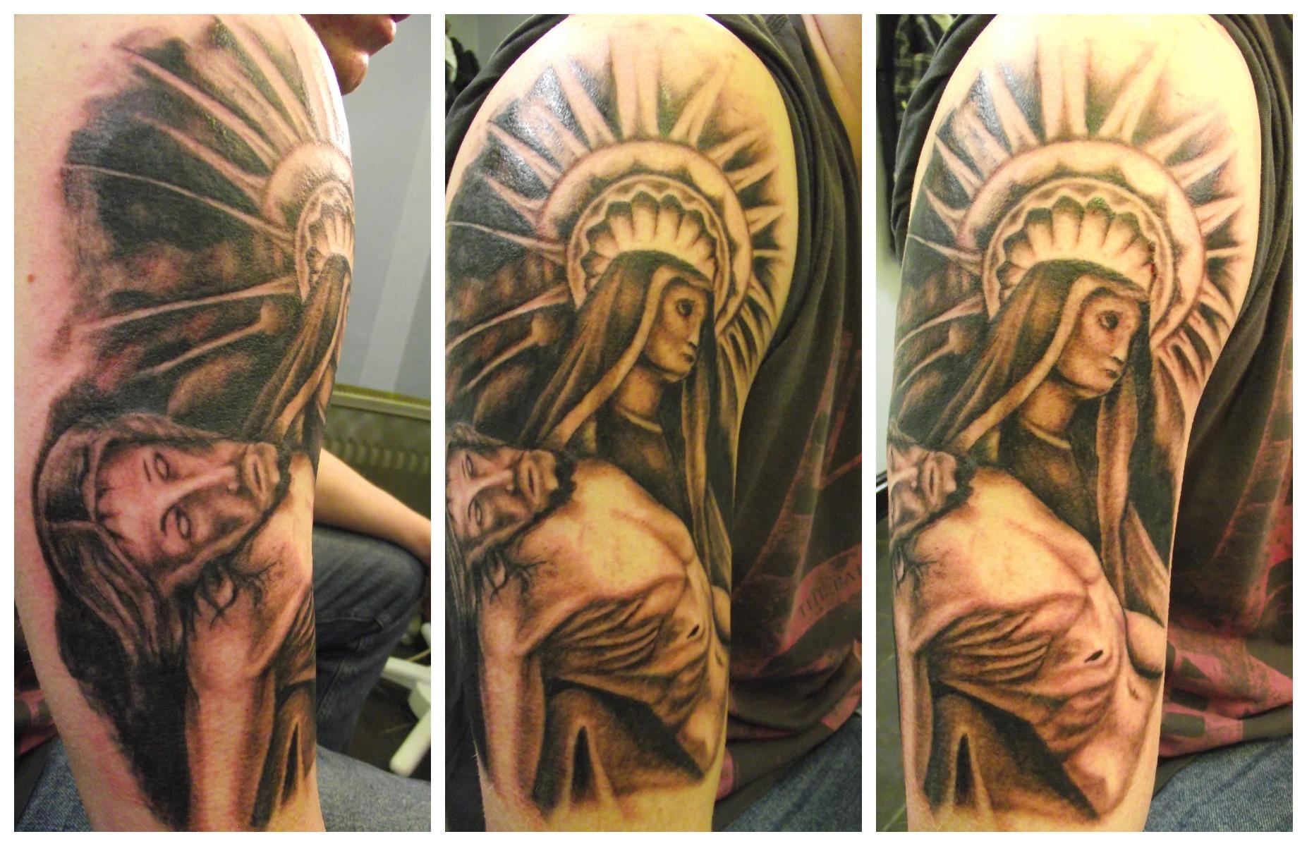 Amazing Right Half Sleeve Christian Tattoo For Men