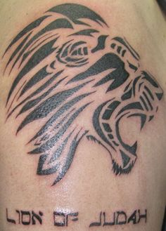 2d6b3699e90a1 Black Ink Tribal Lion Head Christian Tattoo