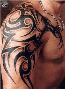 ab9709bda9e77 Black Tribal Christian Tattoo On Man Right Shoulder