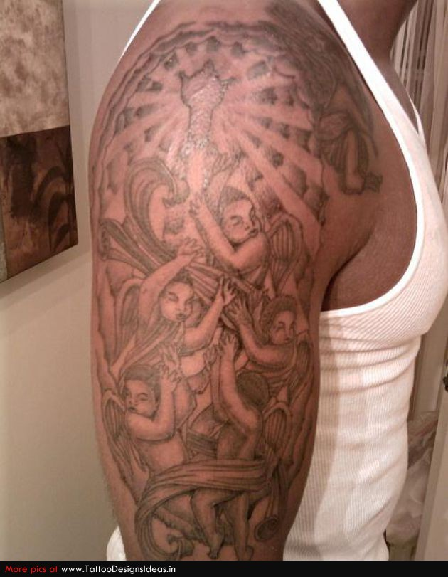 Religious Angel Tattoos For Men Grey Ink Christian Tat...