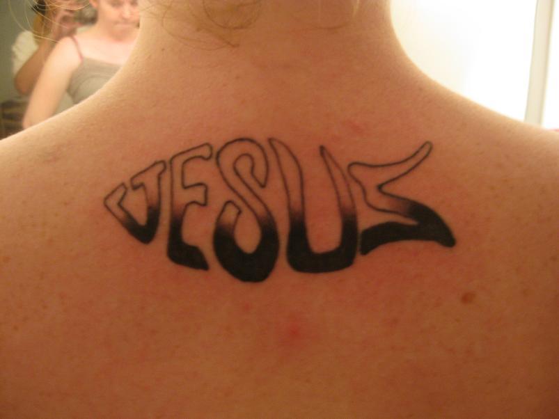 Jesus Christian Tattoo On Upperback