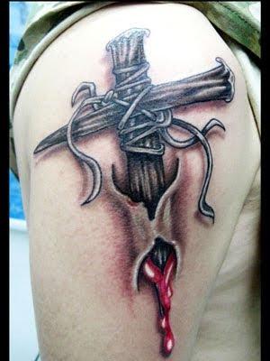 Ripped Skin Christian Tattoo On Right Half Sleeve