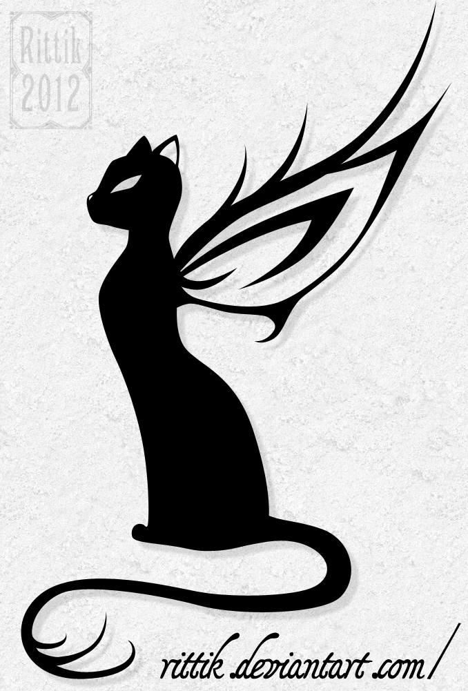 Черная кошка тату