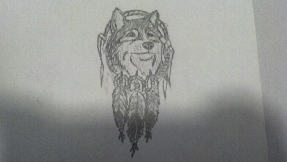 Attractive Wolf Dreamcatcher Tattoo Design