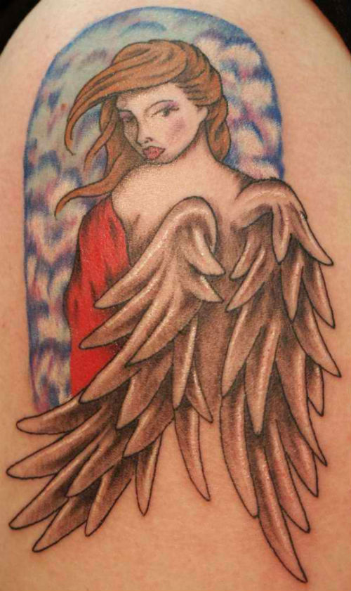 christianity angel girl tattoo. Black Bedroom Furniture Sets. Home Design Ideas