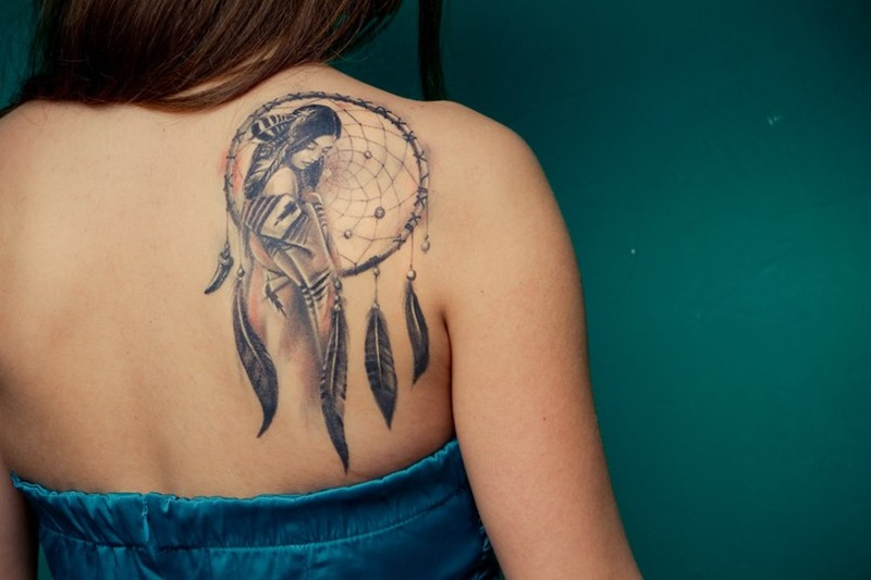 Cute Girl Right Back Shoulder Dreamcatcher Tattoo Awesome Dream Catchers For Girls