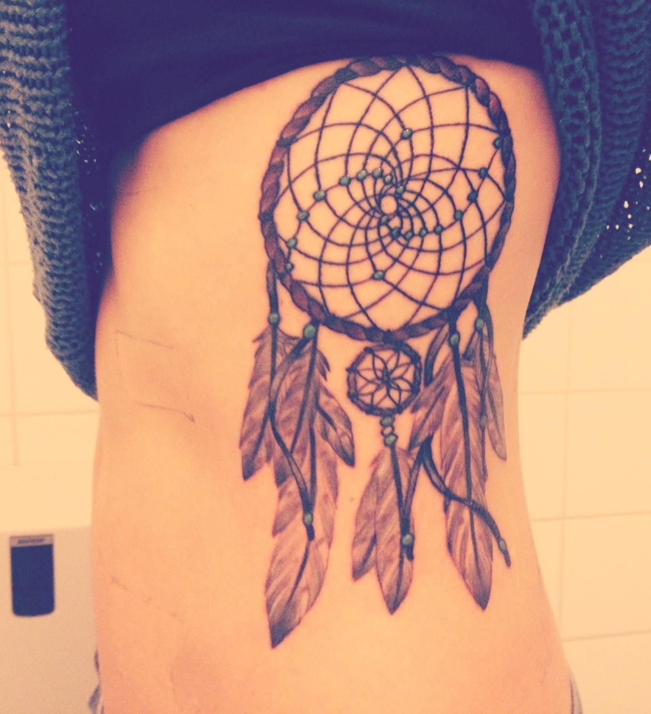Cute Grey Ink Dreamcatcher Tattoo On Girl Left Side Rib