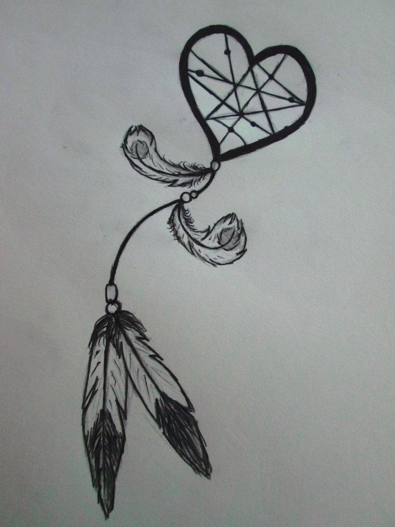 Dreamcatcher Heart Tattoo Design