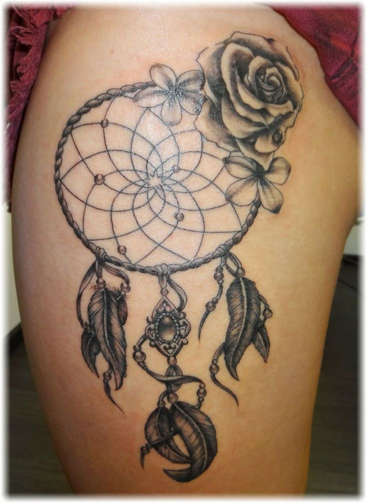 Dreamcatcher Tattoo On Girl Left Thigh Unique Dream Catchers For Girls
